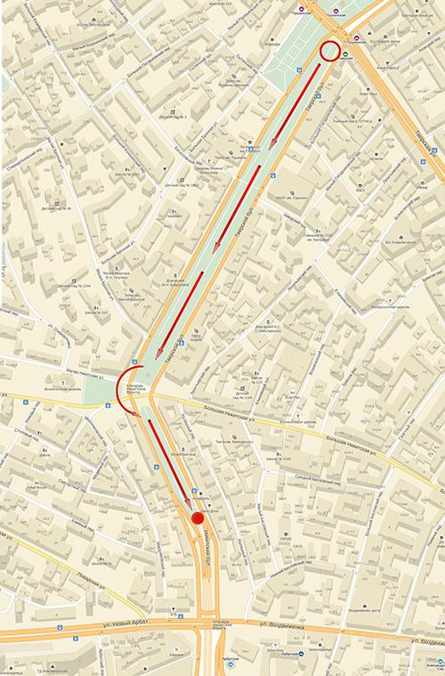 Карта с маршрутом фотопрогулки Школы фотографии OPEN FOTO «Графика московских бульваров»