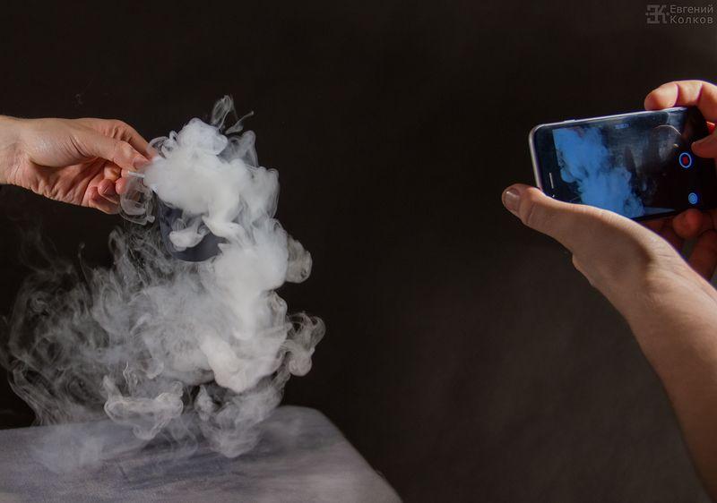 Сухой лед под прицелом фотокамер. Фотограф - Евгений Колков